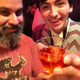 Dylan Gardner and William Fuentes drink the Scotch