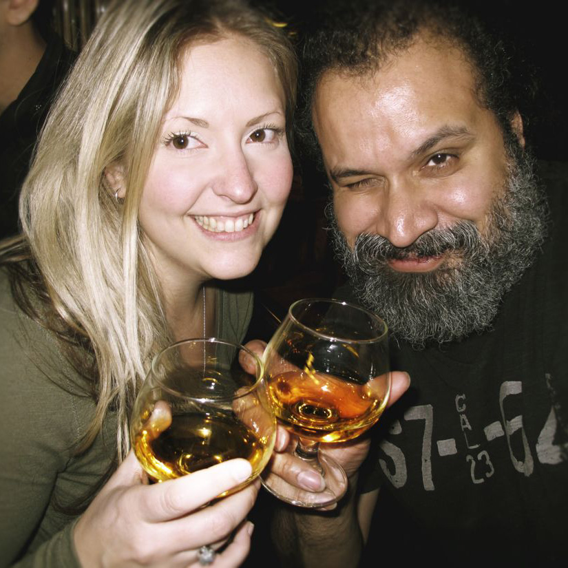 Allison Honeymar and William Fuentes drink Scotch at Amsterdam Billiards+Bar november 2014